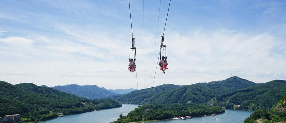 韓國南怡島高空飛索+島內遊覽火車+自行車套票,南怡島飛索套票,南怡島滑索套票
