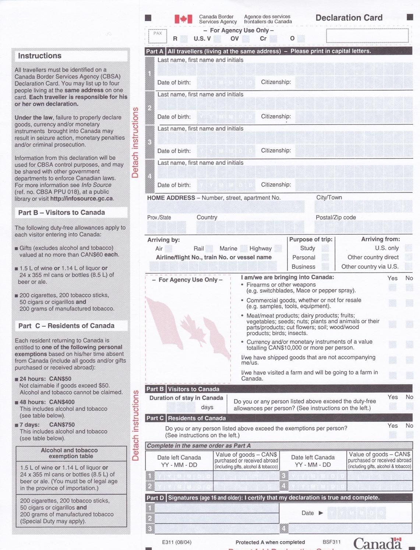 2014加拿大入境卡填寫須知